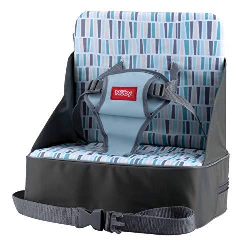 Nuby Booster seat Sitzerhöhung für Reisen, faltbar, Reisetasche verwandelt sich in Boostersitz, mit Platz für Flaschen, Windeln und mehr, mehrfarbig, grau, 9m+
