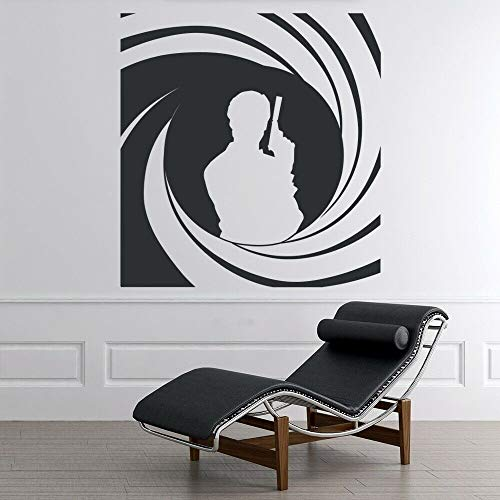 wopiaol Movies Wall Decal Cool Pistol Man Art Mural Vinyl Window Stickers Cinema Man Cave Recreation Club Interior Decor Wallpaper