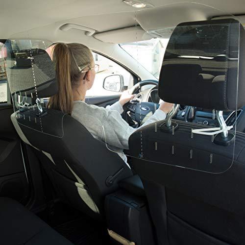 WANDKINGS Spuckschutz Trennwand für Auto & Taxi, Van Kleinbus Großraumlimousine Großraumtaxi, Niesschutz Hustenschutz Virenschutz, Schutzscheibe 95 x 55 cm