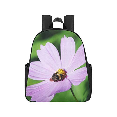 Hummel Biene Blumenblatt Natur Grün Lila Bagpack 12.40x5.12x14.17inch Schultasche Mehrzweck Casual Reiserucksack Business Travel School, Büro