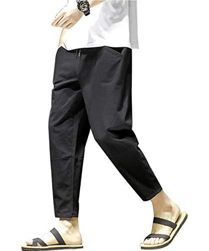 パンツ メンズ ロングパンツ リネン サルエル パンツ ルーズカジュアルソリッドカラー 九分丈 無地 調整紐 ゆったり ロングパンツ 通気性 大きいサイズ ァッション 黑 3XL
