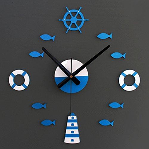 horloge murale CivilWeaEU- Style Méditerranéen Bricolage Tour de la Cloche Cercle de Vie de Rond Petit Poisson Cloche Bricolage Salle de Séjour Horloge à Quartz muet (Couleur : Bleu et Blanc)