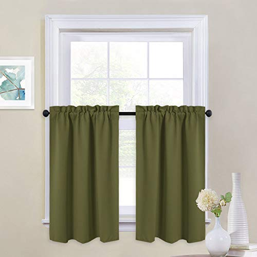 "NICETOWN Window Blackout Curtains - Rod Pocket Tailored Tier/Valance/Cafe Curtains For Kitchen (1 Pair, 29"" Width by 36"" Length, Olive)"
