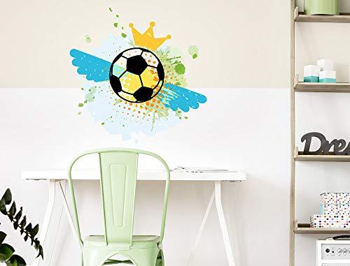 Jeugdkamer muur tattoo voetbal met engel vleugels en kroon muur sticker tiener decoreren sport sticker gemakkelijk aan te brengen en verwijderd