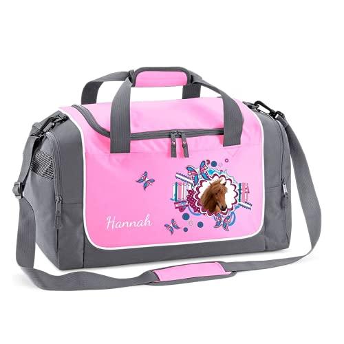 Mein Zwergenland Sporttasche Kinder personalisierbar 38L, Kindersporttasche mit Name und Pferdekopf Bedruckt in Rosa
