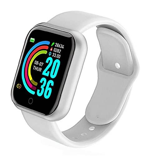 Yililay Reloj Elegante Y68 Impermeable Pantalla de frecuencia Cardiaca Gran Prueba Aptitud del Reloj Hombres Mujeres Compatible con Andriod iOS Blanca exquisitamente Hecho