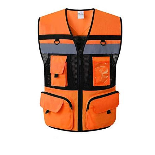 Sooiy Gilet de sécurité réfléchissant avec Poches Multipoches de sécurité réfléchissante pour Gilet de sécurité pour Entrepreneur, Gilet Orange/Jaune,Orange,L