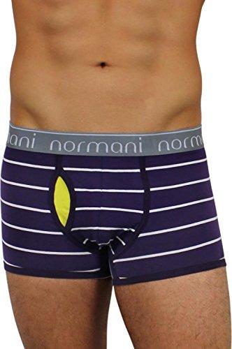 normani 4 x Herren Unterhose Boxershorts Retro Pants Farbiger Mix Schwarz/Gemischt/Neutral Farben Baumwolle mit Elasthan Farbe Purple Stripes Größe M