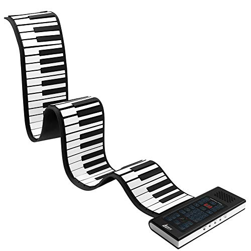 Lujex 88 Teclas Enrollar Piano Teclado Electronico, Silicona Ambiental Portátil Recargable Plegable Digital USB Midi Piano Teclado(88 Teclas)