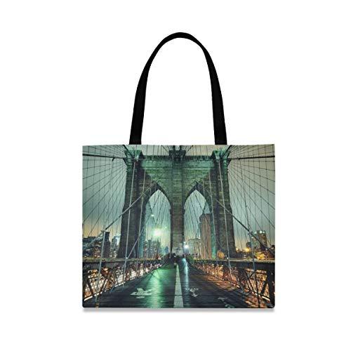 XiangHeFu Bolso de mano de gran capacidad al aire libre Bolso Moda reutilizable Paisaje nocturno Puente de Brooklyn Casual