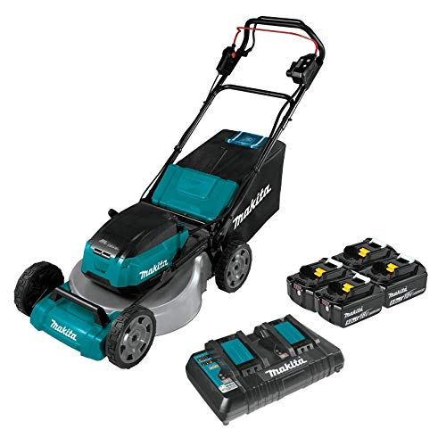 """Makita XML06PT1 (36V) LXT Lithium‑Ion Brushless Cordless 18V X2 18"""" Self Propelled Lawn Mower Kit with 4 Batteries, Teal"""