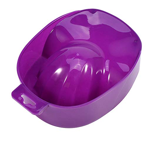 Ruiqas Nail Art Tips Soak Bowl, Nail Art Tips Hand Wash Soak Bowl Tray Polish Treatment Remover Manicure Spa Tool (Color : Purple)