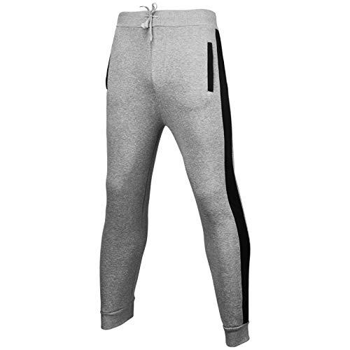 Pantalones de chándal para Hombre, Ejercicio físico, elástico, Ajustado, a la Moda, con Rayas Laterales, pies, Pantalones para Correr Medium