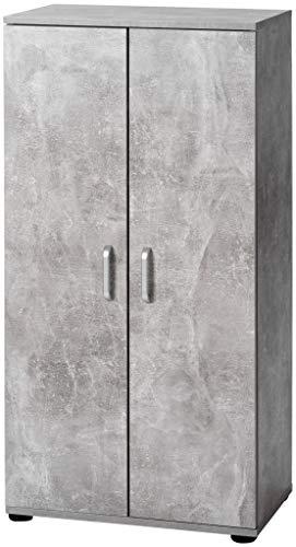 ts-ideen Armadietto Mobiletto Comó 110x55 cm stile moderno con doppia anta. Grigio Cemento