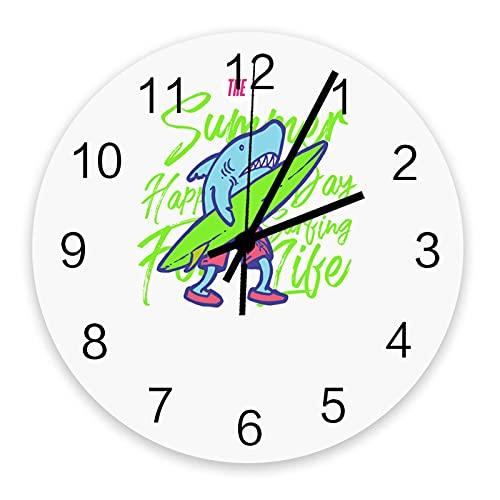 Reloj de Pared con Tabla de Surf Shark silencioso, sin tictac, 10 Pulgadas, Relojes de Pared Redondos Que Funcionan con Pilas para decoración de Dormitorio, Sala de Estar, Oficina, Escuela, Cocina