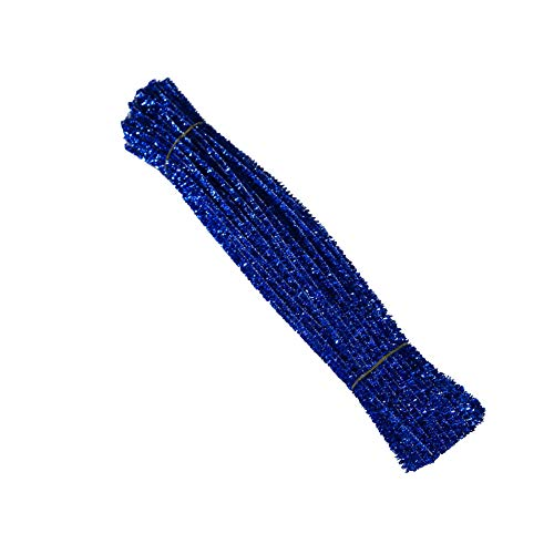 AKOAK 100 Count 6mm x 300mm Shiny Chenille Stems Metallic Pipe Cleaners Tinsel Stems Wired Sticks for DIY Arts and Crafts (Blue)