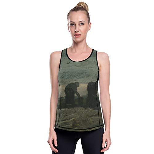 Fantazio Van Gogh Deux Femmes Vêtements d'entraînement en maille Haut de Yoga Exercice Gym Chemises de course Débardeur - - L