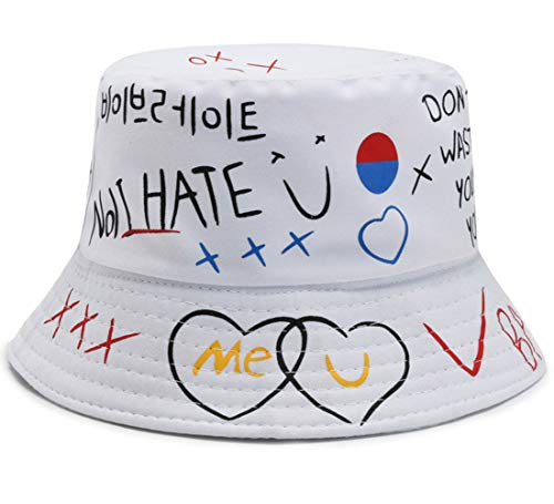 crazy bean Creativo Graffiti Pieghevole Pescatore Cappello Cappello da Pescatore Moda Modello Hip Hop Cappello Pescatore Pieghevole Bucket Hat Cotone