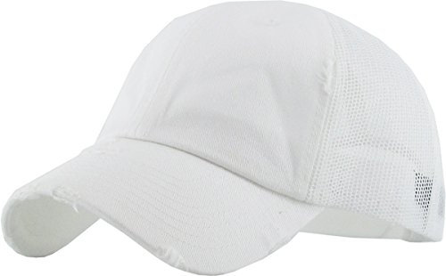 KBETHOS Vintage Washed Distressed Cotton Dad Hat Baseball Cap Adjustable Polo Trucker Unisex Style Headwear (Vintage Mesh) White Adjustable