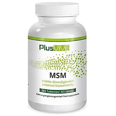 PlusVive - MSM Tabletten - hochdosiert: 1000 mg MSM pro Tablette - mit Bioverf+ügbarkeitsmatrix - 365 vegane Tabletten - Hergestellt in Deutschland