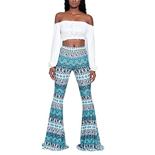 Pantalones de mujer de cintura alta casual apretado estilo étnico impresión cintura media tobillo longitud campana pantalones