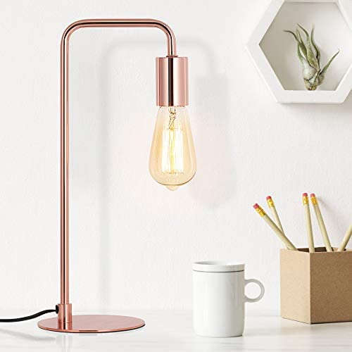 Edison Table Lamp Industrial Nightstand Lamps Small Rose Gold Metal Desk Lamp Suit for Bedside product image