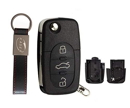 Schlüssel Gehäuse Fernbedienung für Audi Autoschlüssel Funkschlüssel 3 Tasten A2 A3 A4 A6 A8 TT Q3 Q5 Q7 (2032 Battery)