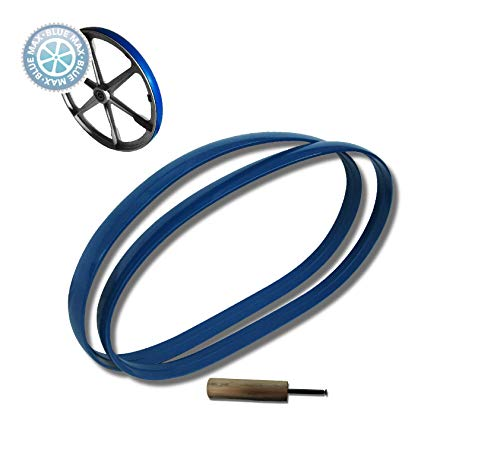 NNew Top Quality Blue Max Heavy Duty Replacement Band Saw Set of 2 Urethane Tires With Installation Roller Auxiliary Tool 14