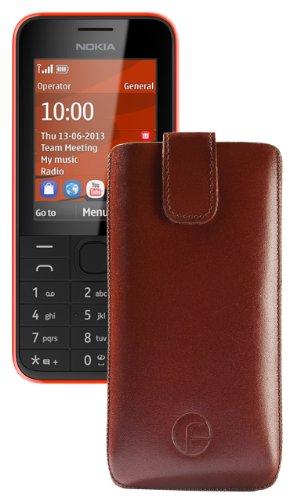 Favory® Etui Tasche für / Nokia 105 / Hülle Handytasche Ledertasche Schutzhülle *Lasche mit Rückzugfunktion* in braun