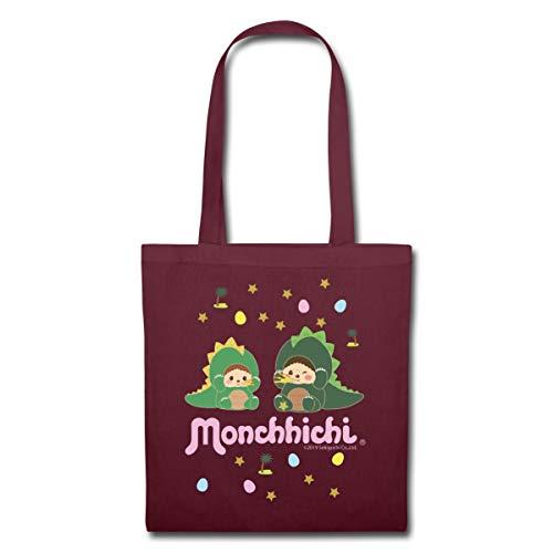 Spreadshirt Monchhichi Als Minidinos Stoffbeutel, Burgunderrot