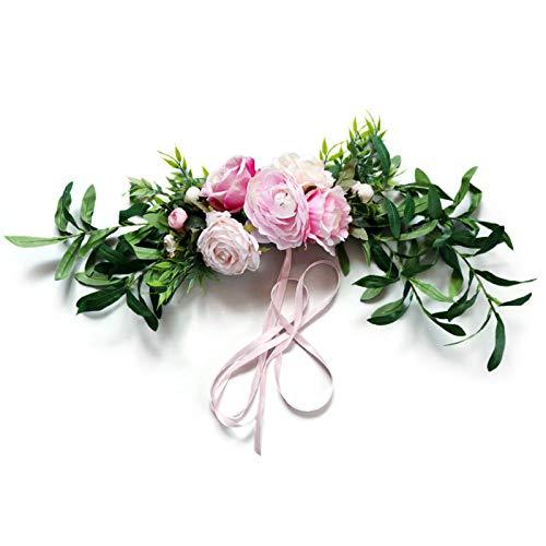YHNJI Guirnaldas de peonía artificial, para colgar en la pared, corona de flores de peonía, para decoración de puerta delantera, puerta, pared, oficina, decoración de boda