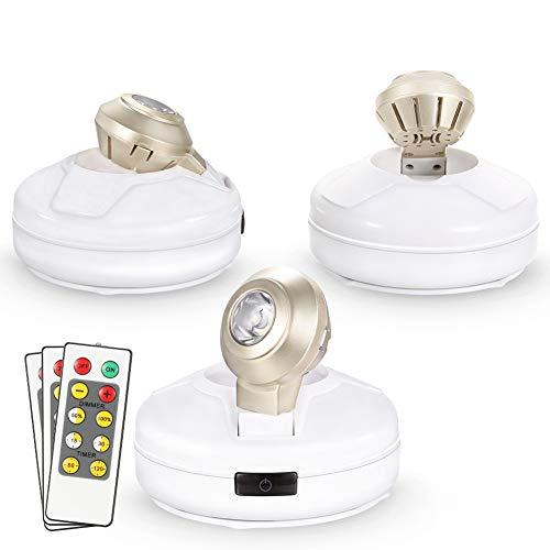 Lunsy - Luces LED de acento, foco inalámbrico con mando a distancia y funciona con pilas, se pega en cualquier lugar para iluminar cuadros de pintura, armario, 3 unidades