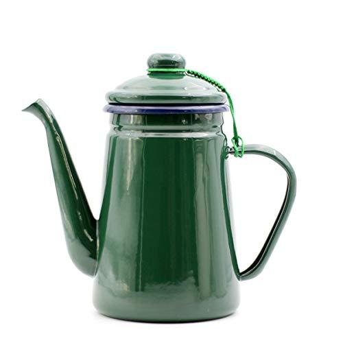 HLONGG Kanne Emaille Teekanne Kaffeekanne 1.1l,Emaille Nostalgie Herd Teekanne Emaille Kaffee Kanne Hand Tee Wasserkocher Induktionsherd Herd Gasherd Universal