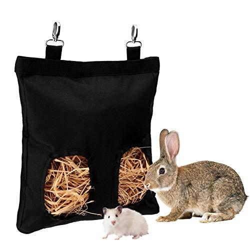 LUTER 28x23x2cm Meerschweinchen Heu Feeder Bag Kaninchen Heutasche Hängender Feeder Sack, Perfekt für kleine Heu fressende Haustiere (Schwarz)