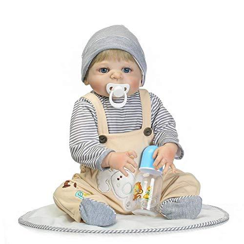 Reborn Baby Dolls, Simulation Soft Tape Body Baby Nette Puppe Frühpädagogisches Spielzeug Silikon Wiedergeburt Baby Wasser Bad Spielzeug 57 cm