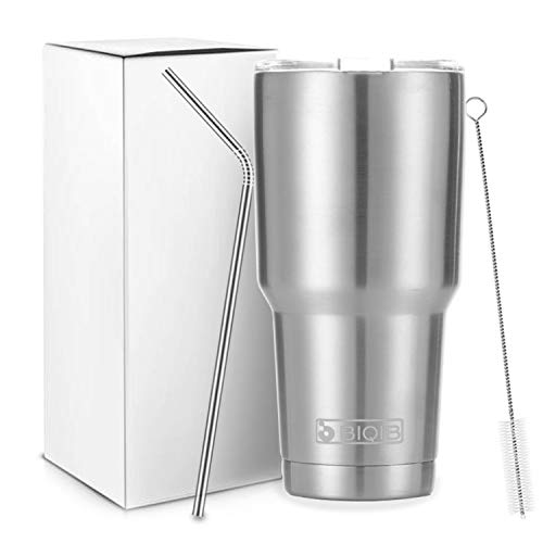 BIQIB Travel Mug 30 oz Tumbler Vacuum Insulated Water Bottle Coffee Cup Camping Thermoses with Straw, Stainless Steel, 900 ml