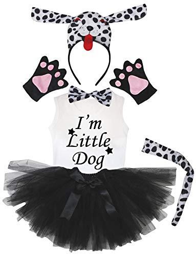 Petitebelle Diadema 3D con diseo de cola de pajarita para camisa y falda, 6 piezas, disfraz de nia (6-8 aos, perro dlmata 3D)