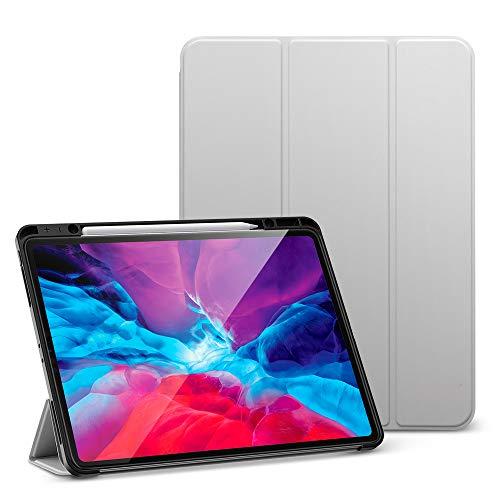 """ESR 12,9""""Capa para iPad Pro com Porta-lápis, Bounce Pen, Capa para iPad com Capa Traseira Flexível de TPU, Função Auto On/Off e Vários Modos de Exibição, Cinza"""