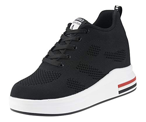 AONEGOLD® Damen Sneaker Wedges mit Keilabsatz 8cm Turnschuhe Atmungsaktive Freizeitschuhe Sportschuhe Schwarz Weiß Rosa Grau(Schwarz,Größe 37)