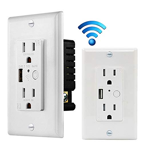 2 Pack WiFi Smart Wall Outlet,5V 2.4A USB Charger Duplex Receptacle Wall Socket,Tamper Resistant Outlet, Work with Amazon Alexa & Google Home APP Control, ETL Listed