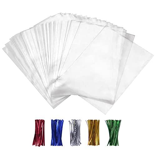 100PCS Cellophane Bags Clear Plastic Cello