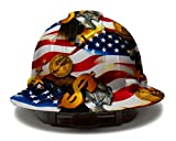 Cool Full Brim Pyramex Hard Hat, Hydrodipped American Flag Money Design Safety Helmet 6pt, by AcerPal