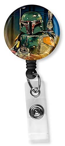 Star Wars Boba Fett Retractable ID Card Badge Reel with Alligator Clip Name Nurse Decorative Badge Holder Clip on Card Holders