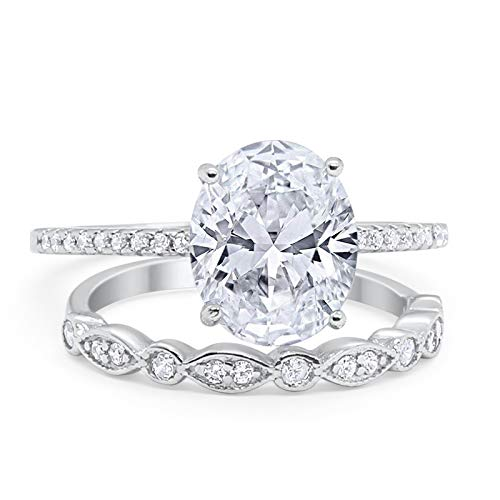 Blue Apple Co. Two Piece Oval Wedding Engagement Bridal Set Ring Band Simulated Cubic ZirconiaCubic Zirconia 925 Sterling Silver Size-9