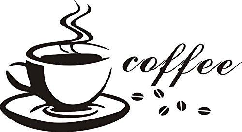 Wandtattoo wandaufkleber Aufkleber Wandsticker wall sticker Wohnzimmer Schlafzimmer Kinderzimmer Kueche Schriftzug CAFE COFFEE KAFFEE 30 Farben zur Wahl cafe01 (080 kaffeebraun, Size 1:ca.5x6cm(ohne Kaffeebohnen u.Schrift))