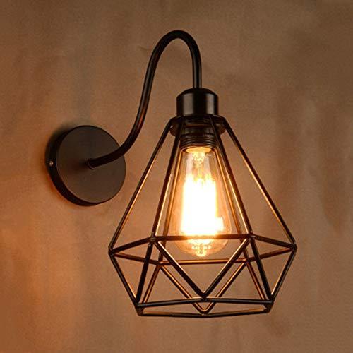 Wandlamp Classica van ijzer met diamanten, metaal met frame in kooivorm, retro industrieel ijzer, zwart met lantaarn E26/E27, D-B