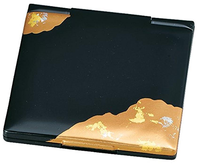 頂点倉庫ハイブリッド中谷兄弟商会 山中漆器 コンパクトミラー 純金箔工芸 黒 金雲33-0401