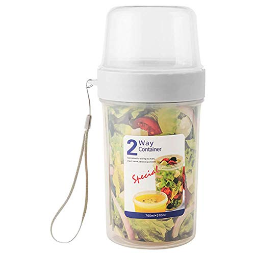 Jinwe Fresh-Keeping Container,Double-Layer Sealed Fresh-Keeping Cups, Multi-Functional Food Storage Boxes, Upper and Lower Storage Boxes (310 760ML)