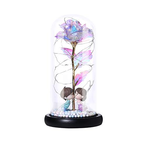 SIWEI Bunte Goldfolien-Rose mit LED-Licht, Valentinstags-Geschenk, Rosen-Laterne, Nachtlicht, Farbschaum-Körnung, Dekoration, Lampe Nachtlicht für Jahrestag, Valentinstag (ohne Batterie)