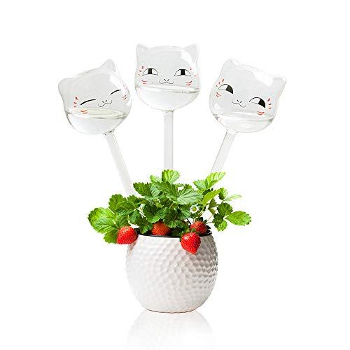 KnikGlass Pack de 3 globos de riego automático para plantas, forma de pájaro, soplado a mano, transparente, mini bombillas de vidrio transparente duraderas (paquete de 3 gatos)
